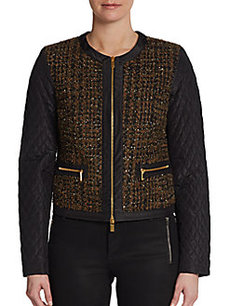 Michael Kors Quilted-Sleeve Tweed Jacket