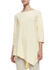 Joan Vass 3/4-Sleeve Asymmetric Tunic, Women's