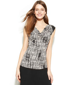 Calvin Klein Cap-Sleeve Faux-Leather Printed Top