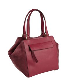Fendi wine leather and suede magnetic top satchel
