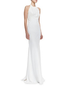 Halter-Neck Beaded-Bodice Gown, Ivory   Halter-Neck Beaded-Bodice Gown, Ivory