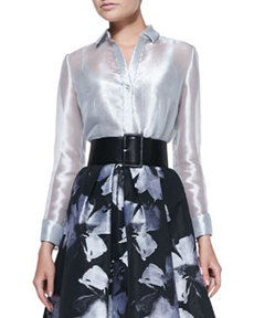 Carmen Marc Valvo Long-Sleeve Sheer Metallic Blouse