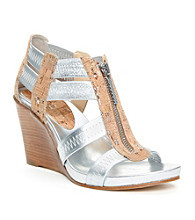 "Donald J Pliner® ""Ginge"" Stacked Wedge Sandals - Silver"