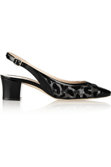 Oscar de la Renta Courtrete flocked mesh and leather slingbacks