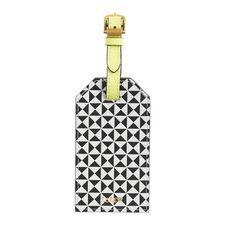 Pattern-block leather luggage tag