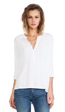 Michael Stars 3/4 High Low Split Neck Top in White