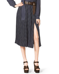 Michael Kors Polka-Dot Pleated Skirt