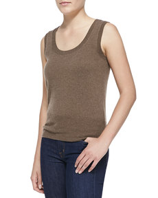 Escada Sleeveless Cashmere Top, Oak