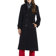 Button-Front Wool Coat with Hood