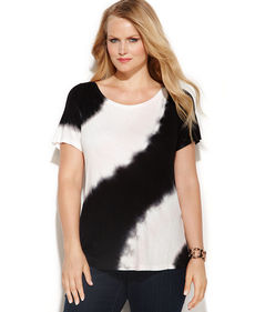 INC International Concepts Plus Size Sequined Cap-Sleeve Tie-Dye Tee