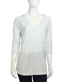 James Perse Relaxed V-Neck Slub Tee, Sky Blue