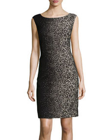 Lafayette 148 New York Savannah Speckled A-Line Dress, Black/Multi