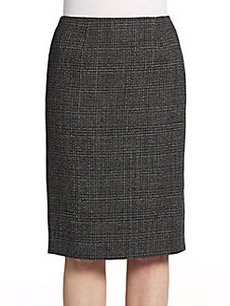 Calvin Klein Collection Wool Tweed Check Skirt