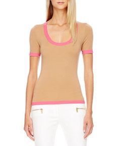 Contrast-Trim Cashmere Top   Contrast-Trim Cashmere Top