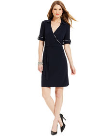 Jones New York Three-Quarter-Sleeve Piped Belted Faux-Wrap Dress