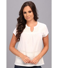 Lucky Brand Short Sleeve Eyelet Top