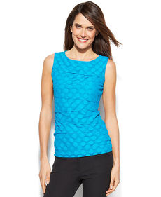 Alfani Sleeveless Tiered Dot-Mesh Top