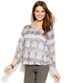 Alfani Plus Size Angel-Sleeve Printed Blouson Top