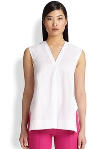 Saks Fifth Avenue Collection Poplin V-Neck Shirt