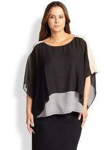 Eileen Fisher, Sizes 14-24 Silk Contrast-Overlay Top