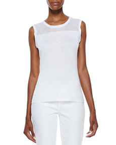 Kemper Sleeveless Knit Yoke Top, White   Kemper Sleeveless Knit Yoke Top, White