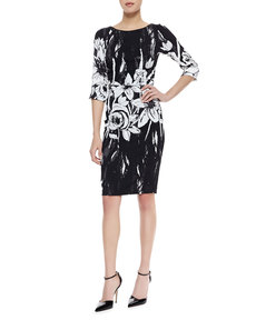Tracy Reese 3/4-Sleeve Ruched-Waist Dress, Black/White Floral