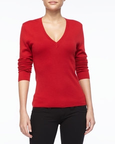 Michael Kors Cashmere V-Neck Top, Crimson