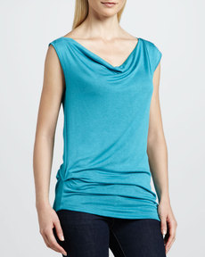 Three Dots Asymmetric Draped Top