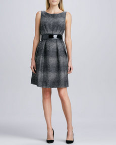 Carmen Marc Valvo Sleeveless Tweed Belted Dress
