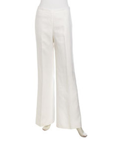 Lafayette 148 New York Wide-Leg Linen Pants, White