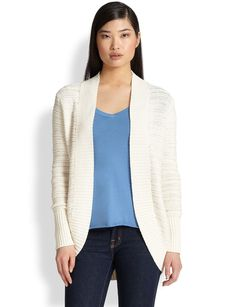 Saks Fifth Avenue Collection Tape Stitch Open Cardigan