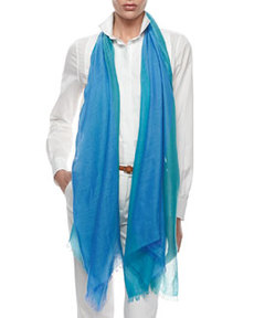 Lightweight Cashmere-Silk Colorblock Scarf, Blue/Green   Lightweight Cashmere-Silk Colorblock Scarf, Blue/Green