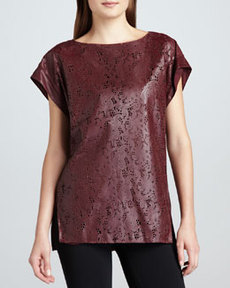 Lafayette 148 New York Leather Lace-Cutout Tunic