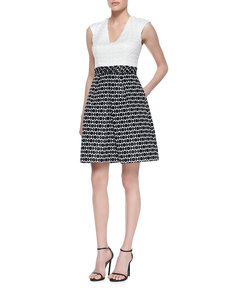 Kay Unger New York Contrast Texture Fit-and-Flare Dress, White/Black