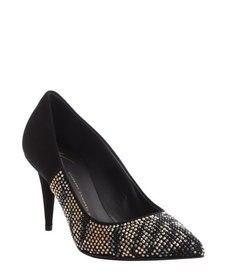 Giuseppe Zanotti black studded point toe 'Ester 80' suede pumps