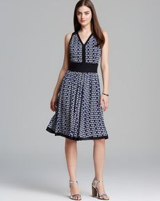 Anne Klein Dress - V Neck Abstract Diamond Print Georgette