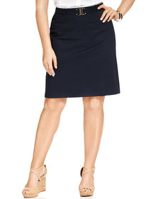 Jones New York Signature Plus Size Belted Pencil Skirt