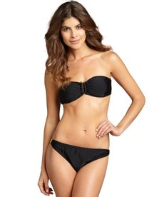 Shoshanna black matte nylon-blend embellished bikini brief