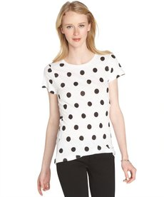 French Connection white and black cotton jersey 'Sonny Spot' short sleeve t-shirt