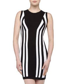 Susana Monaco Mirrored Contrast Sweater Dress, Black/White