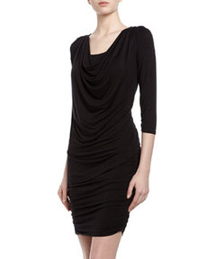 Laundry by Shelli Segal Three-Quarter-Sleeve Ruched Jersey Dress, Black