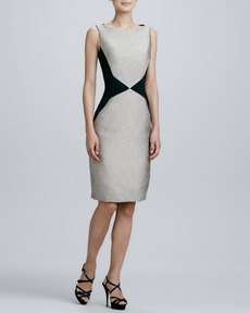 Carmen Marc Valvo Sleeveless Colorblock Sheath Dress
