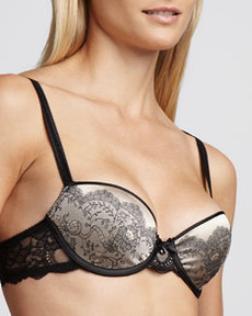 Paris Satin-Jacquard T-Shirt Bra, Black/Nude   Paris Satin-Jacquard T-Shirt Bra, Black/Nude