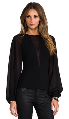 Robert Rodriguez Techno Crepe Illusion Top in Black