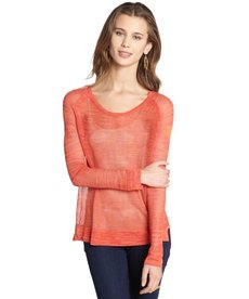 Rag & Bone coral and orange mesh raglan top