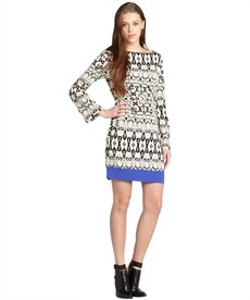 Nicole Miller white and black yin yang bordersnake bell sleeve dress
