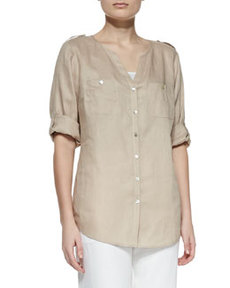 Go Silk Linen Button-Front Tunic, Women's