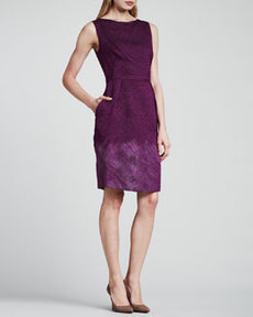 Escada Sleeveless Cloque Dress, Purple