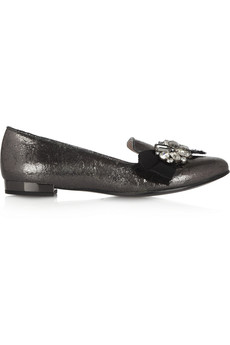 Miu Miu Embellished metallic cracked-leather loafers
