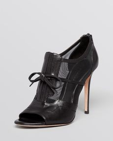 Elie Tahari Open Toe Booties - Odean Mesh High Heel